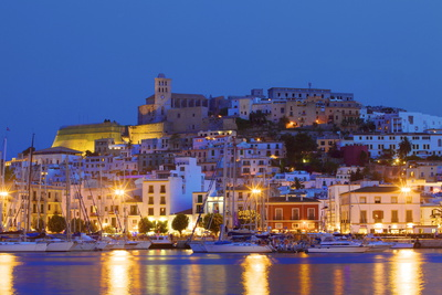 Ibiza Harbour at Night, Ibiza, Balearic Islands, Spain, Europe Photographic Print by Neil Farrin