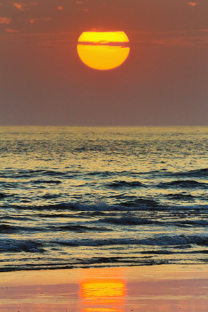 The Sun Setting Off Playa Guiones Surf Beach Photographic Print by Rob Francis