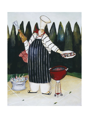 Barbeque Chef Giclee Print by Jennifer Garant