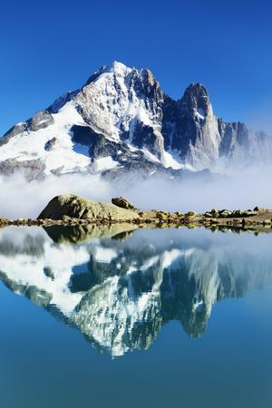 Mountain Landscape, Lac Blanc with Aiguille Vert and Les Drus, Haute Savoie, France, September 2008 Photographic Print by Frank Krahmer
