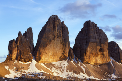 Tre Cime Di Lavaredo Mountain at Sunset, Sexten Dolomites, South Tyrol, Italy, Europe, July 2009 Photographic Print by Frank Krahmer
