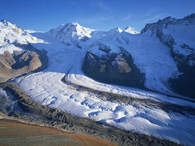 View from Gornergrat to Liskamm and Breithorn Mountains with Boarder Glacier, Switzerland Photographic Print by  Popp-Hackner