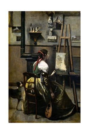 The Artist's Studio Giclee Print by Jean-Baptiste-Camille Corot