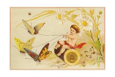 Butterflies Pulling Cherub on Thread Spool Chariot Giclee Print