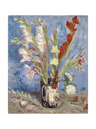 Vase with Gladioli and China Asters Giclee Print by Vincent van Gogh