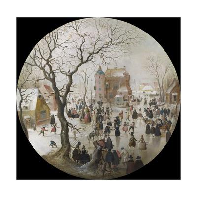 A Winter Scene with Skaters Near a Castle Giclée-tryk af Hendrick Avercamp