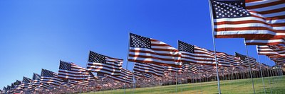 American Flags in Memory of 9/11, Pepperdine University, Malibu, California, USA Photographic Print