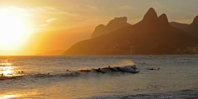 Surfers at Sunset on Ipanema Beach, Rio De Janeiro, Brazil Photographic Print