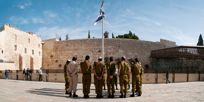 Israeli Soldiers Being Instructed by Officer in Plaza in Front of Western Wall, Jerusalem, Israel Photographic Print