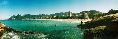 Tourists on the Beach, Ipanema Beach, Rio De Janeiro, Brazil Photographic Print