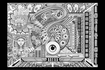 Resonance black and white psychedelic trippy poster by Chris Sheehan