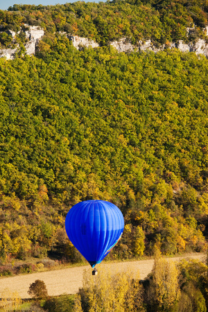 Elevated View of Hot Air Balloon over Dordogne River Valley, Castelnaud-La-Chapelle, Dordogne Photographic Print by Green Light Collection