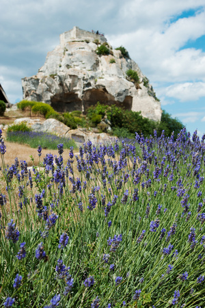 Lavender Field in Front of Ruins of Fortress on a Rock, Les Baux-De-Provence, Bouches-Du-Rhone Photographic Print by Green Light Collection