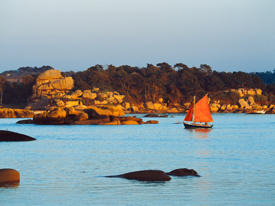 Traditional Sailing Boat in an Ocean, Cotes-D'Armor, Brittany, France Photographic Print by Green Light Collection