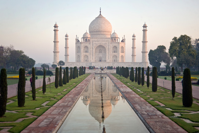 Reflection of a Mausoleum in Water, Taj Mahal, Agra, Uttar Pradesh, India Photographic Print by Green Light Collection