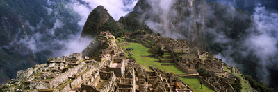 High Angle View of an Archaeological Site, Inca Ruins, Machu Picchu, Cusco Region, Peru Photographic Print