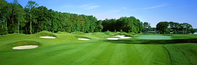 Sand Traps in a Golf Course, River Run Golf Course, Berlin, Worcester County, Maryland, USA Photographic Print