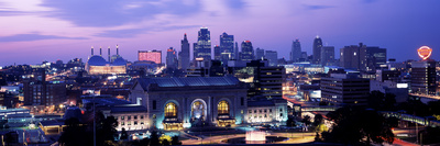Union Station at Sunset with City Skyline in Background, Kansas City, Missouri, USA 2012 Photographic Print