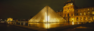 Museum Lit Up at Night, Musee Du Louvre, Paris, France Photographic Print