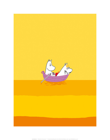 Moomintroll and Snorkmaiden Relaxing in Their Boat Prints by Tove Jansson