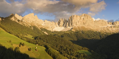 Alpenglow on the Mountains, Rosengarten, Dolomites, Trentino, Alto Adige, Italy Photographic Print