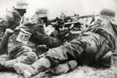 German Soldiers with MG42 General Purpose Machine Gun on a Tripod Mount Photographic Print