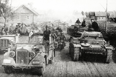 German Military Convoy in Occupied Russia Photographic Print