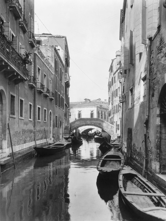Small Canal with Two of Many Small Bridges Photographic Print