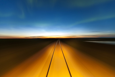 Northern Lights and Railroad, Churchill, Manitoba, Canada Photographic Print