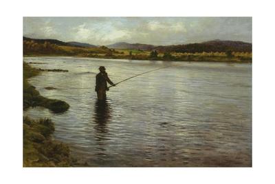 Salmon Fishing on the Dee Giclee Print by Joseph Farquharson