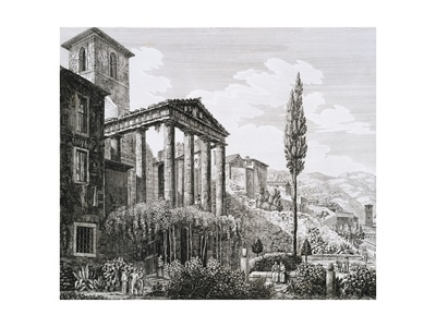 Etching of Temple of Hercules with Tourists and Gardens Giclee Print by Luigi Rossini