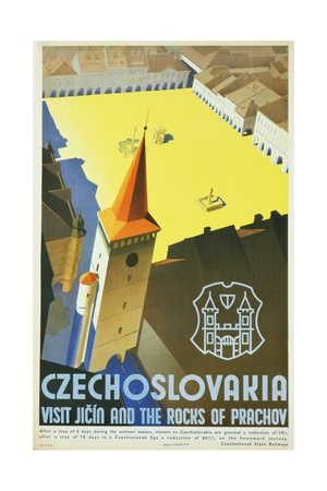 Czechoslovakia - Visit Jicin and the Rocks of Prachov Travel Poster Giclee Print by L. Horak