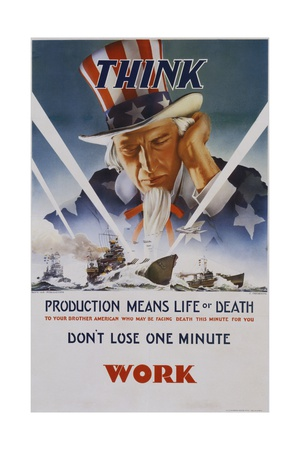 Production Means Life or Death Poster Giclee Print by C. Chickering