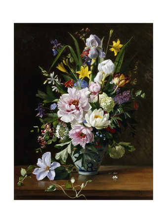 A Still Life with Clematis, Honeysuckle and Peonies Giclee Print by Augusta Dohlmann