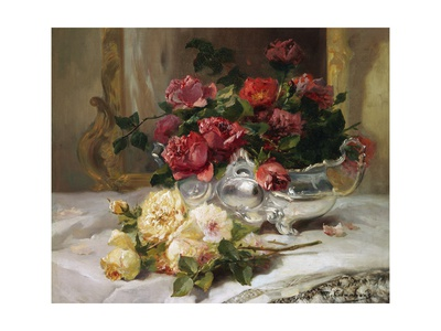 Roses on a Dressing Table Giclee Print by Eugene Henri Cauchois