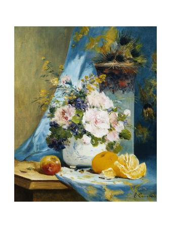 Still Life of Roses with an Orange Giclee Print by Eugene Henri Cauchois