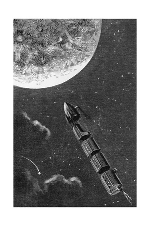 Illustration from From the Earth to the Moon Giclee Print by Jules Verne