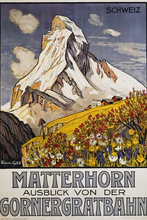 Matterhorn Travel Poster by Francois Gos Giclee Print by Francois Gos