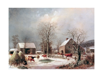 Farmyard in Winter Gicléetryck av George Henry Durrie
