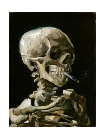 Head of a Skeleton with a Burning Cigarette Premium Giclee Print by Vincent van Gogh