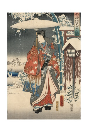 A Modern Version of the Tale of Genji in Snow Scenes Giclee Print