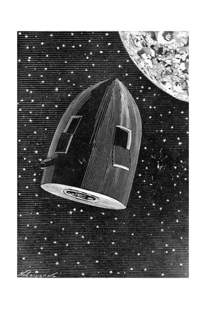Rocket Capsule Illustration from the 1872 Edition of from the Earth to the Moon Giclee Print by Jules Verne
