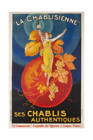 La Chablisienne, Ses Chablis Authentiques, French Wine Poster Giclée-tryk