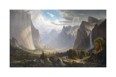 Picture of the Gateway of Yosemite Valley with Bridalveil Fall and El Capitan under cloudy sky Yosemite waterfall artwork