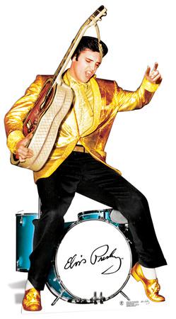 Elvis Gold and drums Figura de cartón