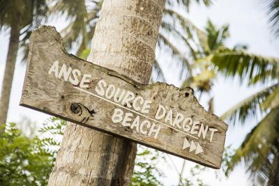 Sign to Anse Source D'Argent Beach, L'Union Estate Plantation, La Digue, Seychelles Photographic Print by Jon Arnold
