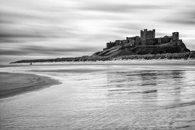 Bamburgh Castle and Beach at Low Tide, Northumberland, Uk Photographic Print by Nadia Isakova