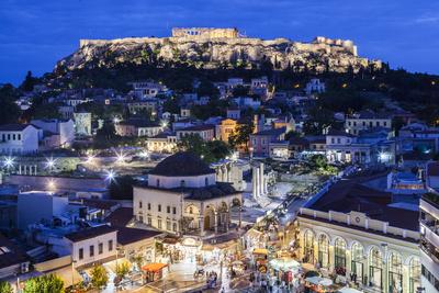 Greece, Athens of Monastiraki Square and Acropolis Photographic Print by Walter Bibikow