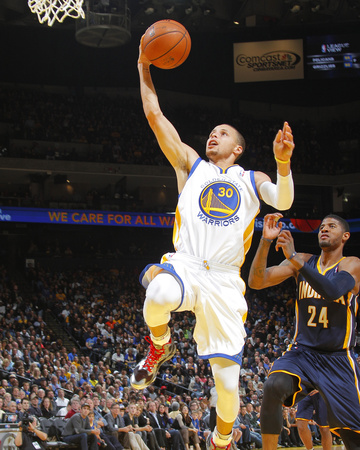 January 20 2014 Golden State Warriors Game photo by Rocky Widner of Stephen Curry dunk against Indiana Pacers in white uniform