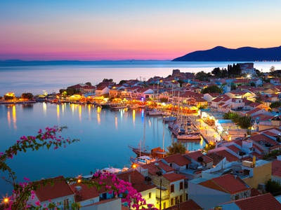 Greek Harbour at Dusk, Samos, Aegean Islands Posters by Stuart Black